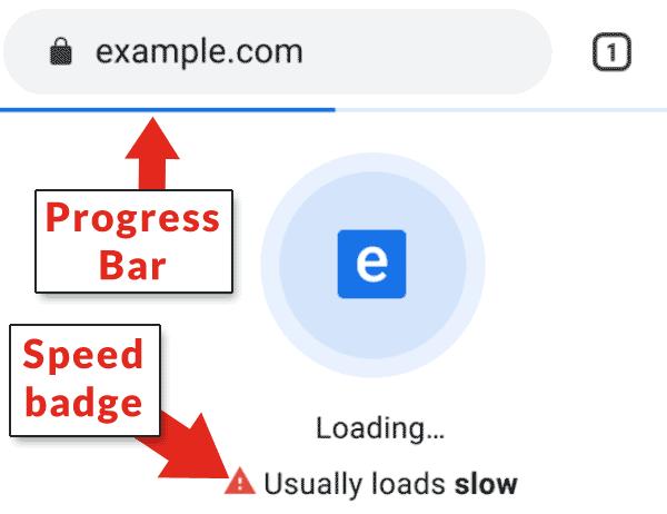 דוגמה לתג חיווי שמוסיפה גוגל כרום